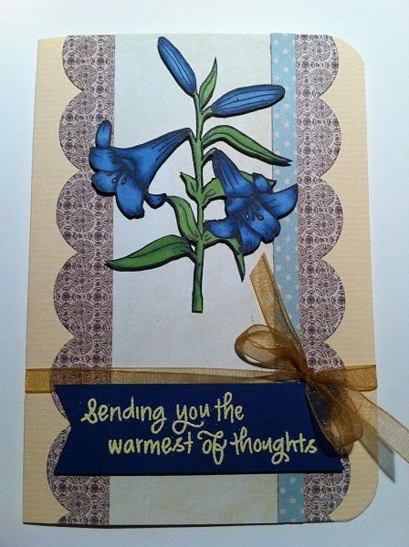 handgemachte Karte Blaue Blume