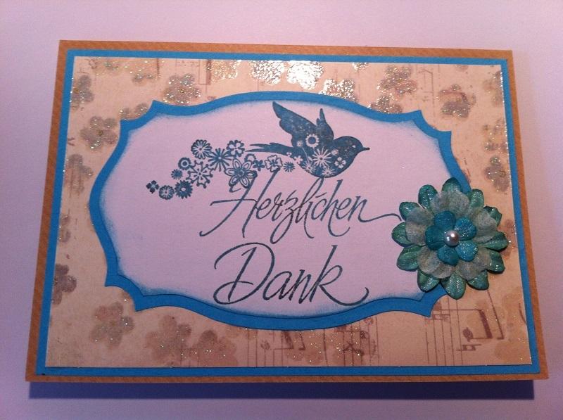 handgemachte Karte Herzlichen Dank blau