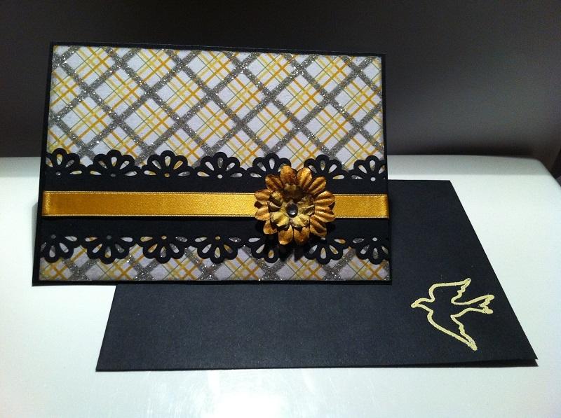 handgemachte Karte schwarz-gold