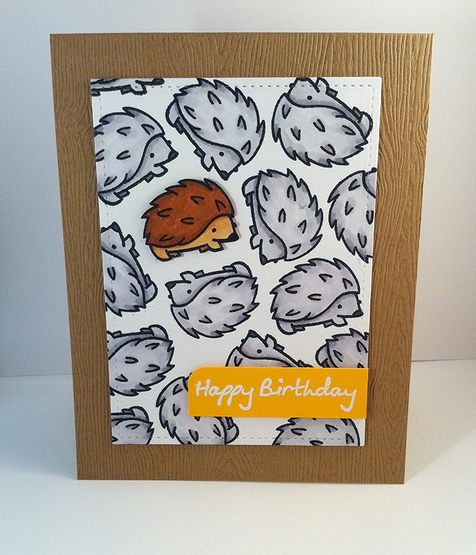 Handmade card with hedgehog