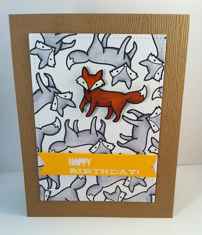 Handmade card with fox