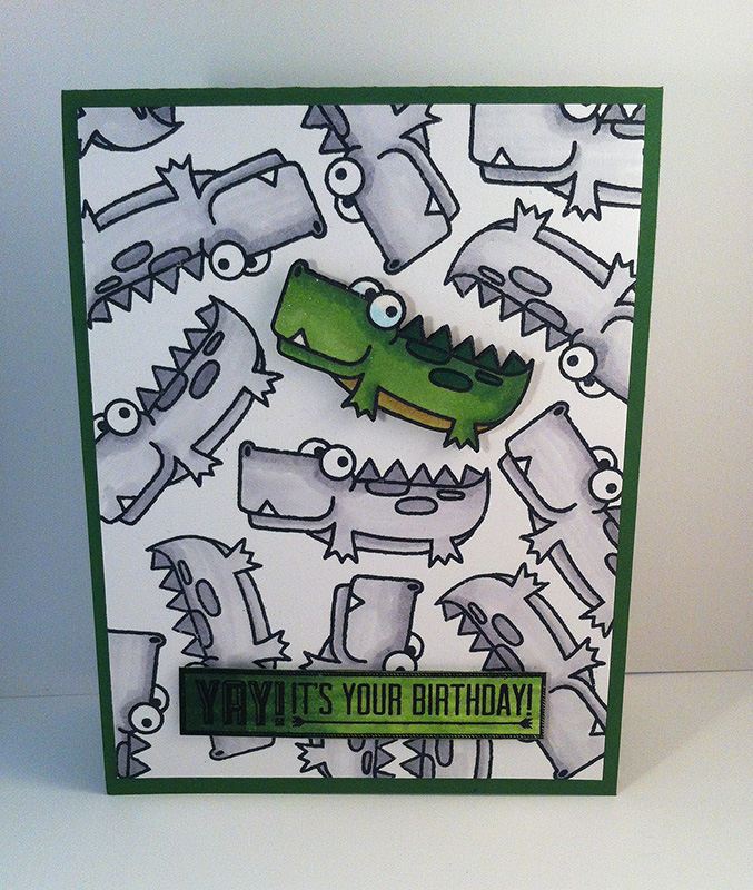 Handmade card with crocodile