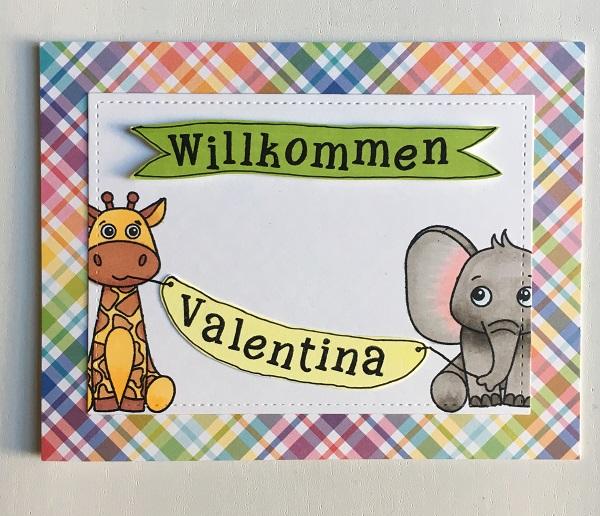 Elephant & Giraffe Baby Card