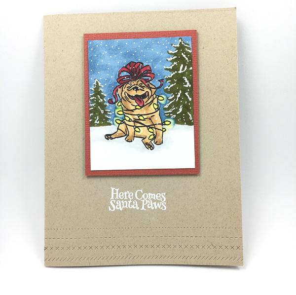 Christmas Pug blonde